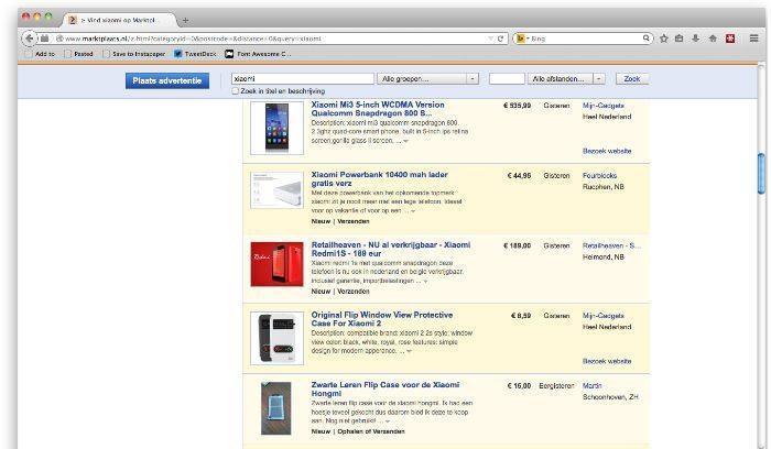 Xiaomi kopen via Marktplaats