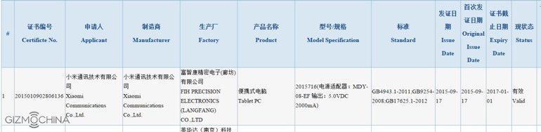 Xiaomi Mi Pad 2 gecertificeerd