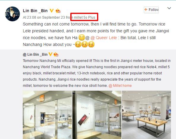 Weibo post via Mi 5s Plus