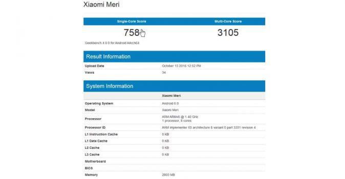 GeekBench score van de Xiaomi Meri