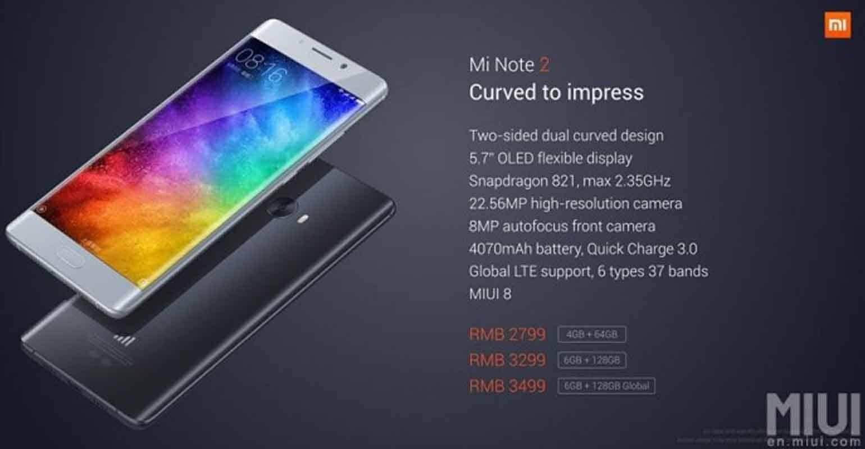 Design van de Xiaomi Mi Note 2