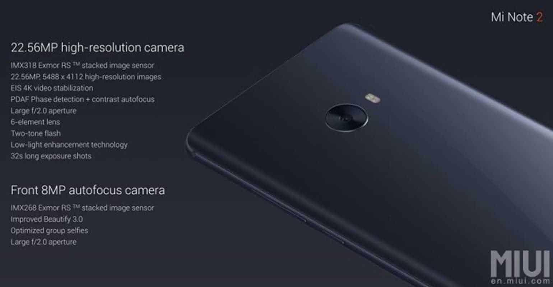 Xiaomi Mi Note 2 camera specificaties