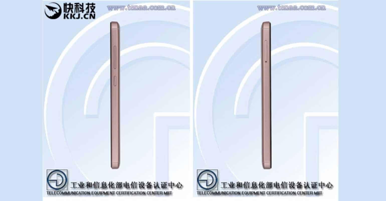 TENAA screenshot van de zijkant van de Xiaomi Redmi 4A