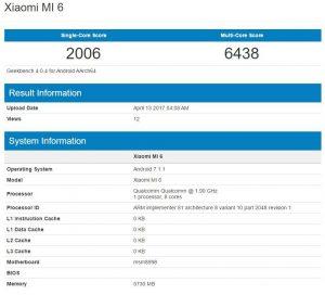 Xiaomi Mi 6 Geekbench scores