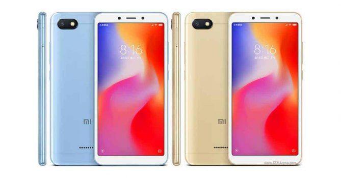 Xiaomi Redmi 6A in blauw- en goudkleur