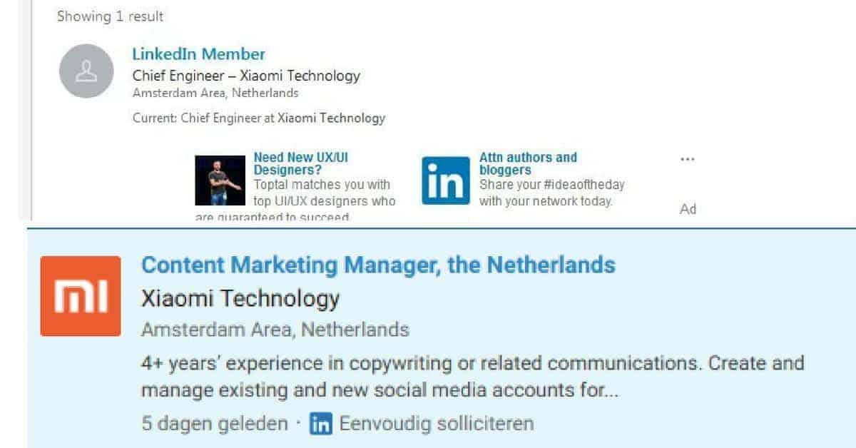 Nederlandse medewerkers voor Xiaomi