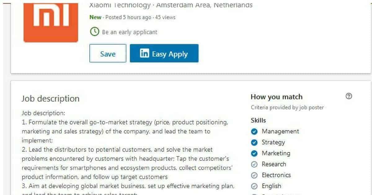 Functieomschrijving Xiaomi Manager of Sales duidt op verdere uitbreiding in Nederland