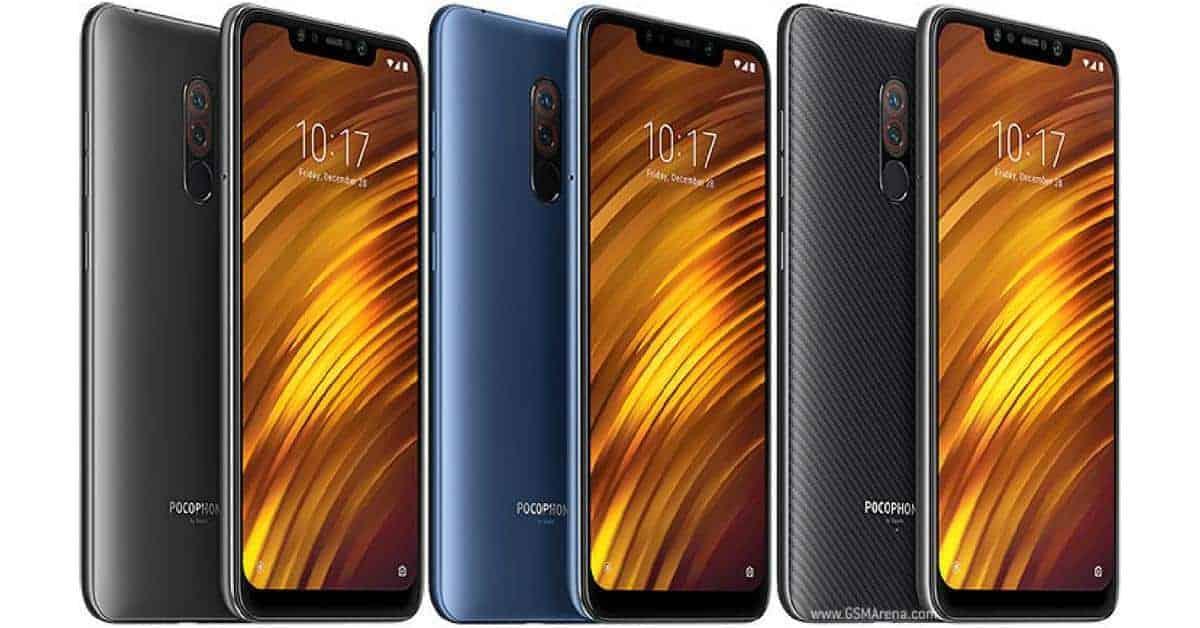 Xiaomi Pocophone F1 voorkant en achterkant