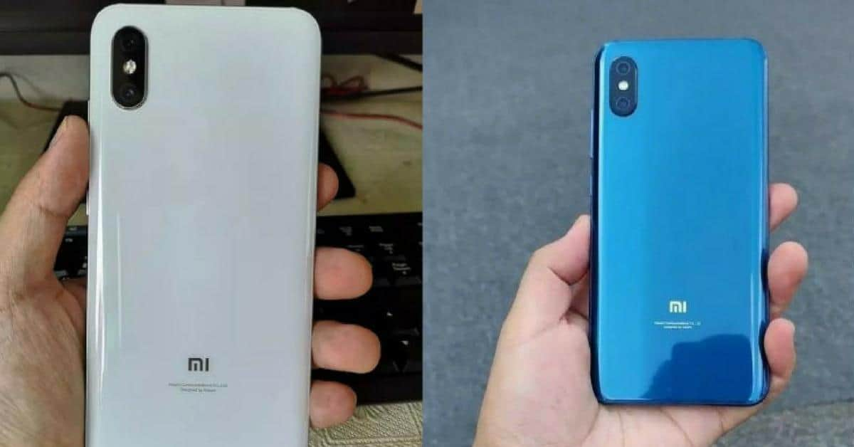 Xiaomi Mi 8X close up in wit en blauw