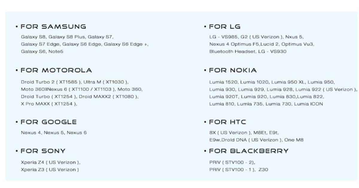 De Xiaomi universele oplader fast charge editie kun je gebruiken met de volgende toestellen
