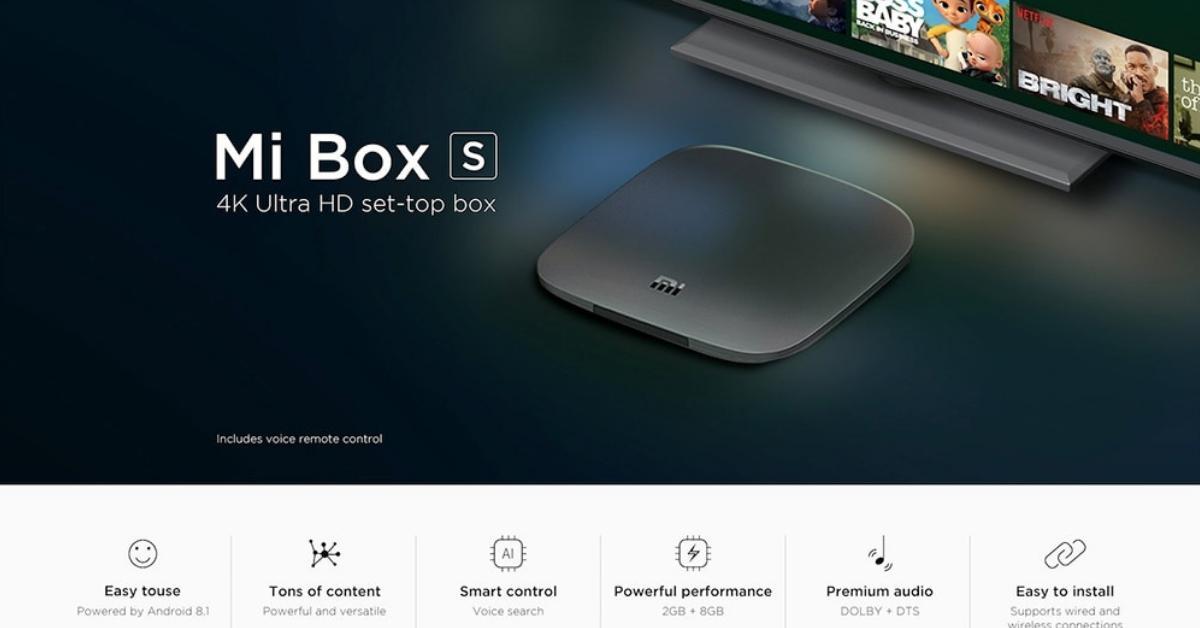 De Xiaomi Mi Box S met belangrijkste specs.