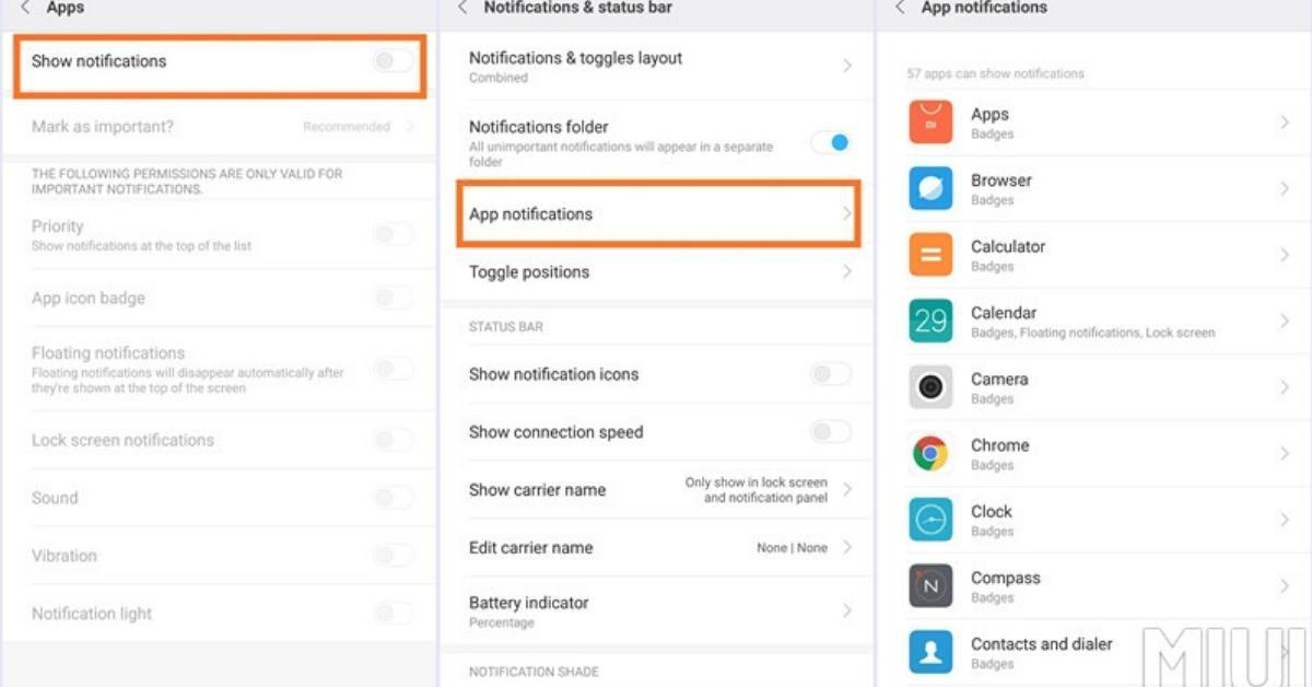 Xiaomi Notificatie manager in MIUI