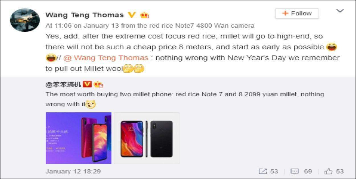 Xiaomi prijzen: Het bericht van Wang Teng Thomas over de prijzen van Xiaomi Mi 8 dat zoveel onrust veroorzaakte.