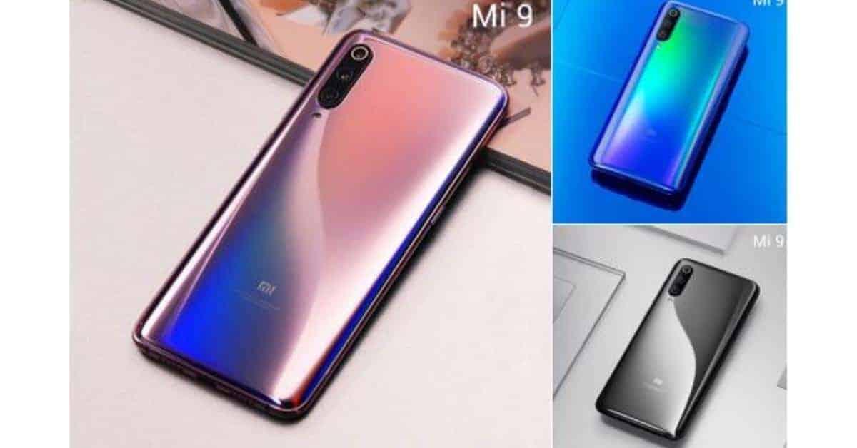 Xiaomi Mi 9 in violet, blauw en zwart.