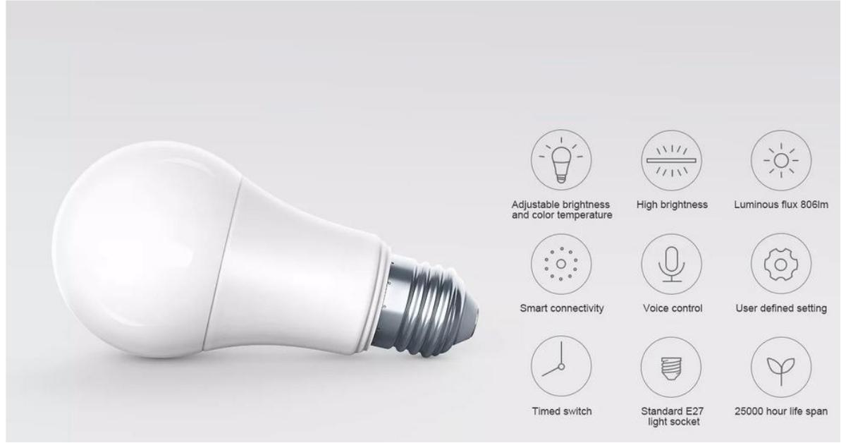 Xiaomi smart led lamp met belangrijkste specificaties.