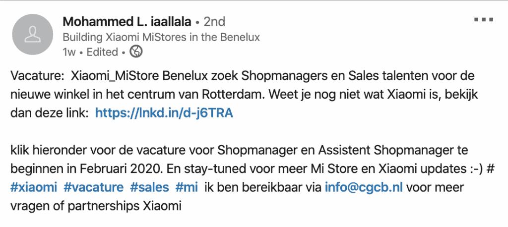Xiaomi-winkels-vacature-Linkedin